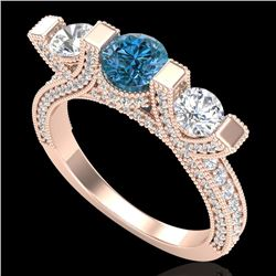 2.3 CTW Fancy Intense Blue Diamond Micro Pave 3 Stone Ring 18K Rose Gold - REF-236H4A - 37643