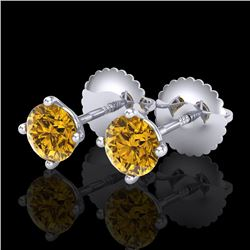 0.65 CTW Intense Fancy Yellow Diamond Art Deco Stud Earrings 18K White Gold - REF-81K8W - 38225