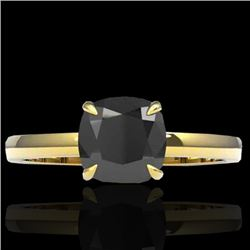 3 CTW Cushion Cut Black VS/SI Diamond Designer Solitaire Ring 18K Yellow Gold - REF-86K4W - 22136