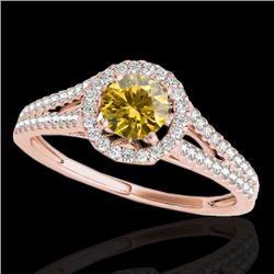 1.3 CTW Certified Si/I Fancy Intense Yellow Diamond Solitaire Halo Ring 10K Rose Gold - REF-162Y8K -