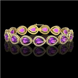 20.3 CTW Amethyst & Diamond Halo Bracelet 10K Yellow Gold - REF-282F9N - 41275