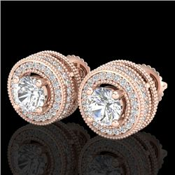 2.09 CTW VS/SI Diamond Solitaire Art Deco Stud Earrings 18K Rose Gold - REF-254H5A - 37140