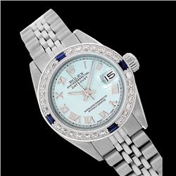 Rolex Ladies Stainless Steel, Roman Dial with Diam/Sapphire Bezel, Sapphire Crystal - REF-426M4F