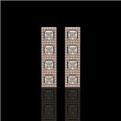 5.31 CTW Princess Diamond Designer Earrings 18K Rose Gold - REF-978M4H - 42639