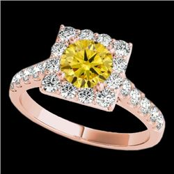2.5 CTW Certified Si/I Fancy Intense Yellow Diamond Solitaire Halo Ring 10K Rose Gold - REF-354Y5K -