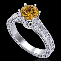 1 CTW Intense Fancy Yellow Diamond Engagement Art Deco Ring 18K White Gold - REF-236F4N - 37574