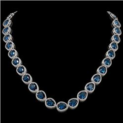 44.8 CTW London Topaz & Diamond Halo Necklace 10K White Gold - REF-625H3A - 41222