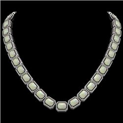 53.59 CTW Opal & Diamond Halo Necklace 10K White Gold - REF-816X2T - 41489