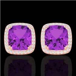 6 CTW Amethyst & Micro Pave VS/SI Diamond Halo Solitaire Earrings 14K Rose Gold - REF-66F4N - 22796