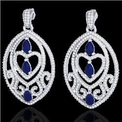 7 CTW Sapphire & Micro Pave VS/SI Diamond Heart Earrings Designer 18K White Gold - REF-381K8W - 2116
