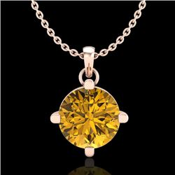 1 CTW Intense Fancy Yellow Diamond Solitaire Art Deco Necklace 18K Rose Gold - REF-154A5X - 38079