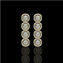 5.28 CTW Cushion Diamond Designer Earrings 18K Yellow Gold - REF-981H6A - 42631