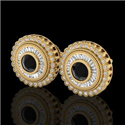 2.61 CTW Fancy Black Diamond Solitaire Art Deco Stud Earrings 18K Yellow Gold - REF-236X4T - 37907