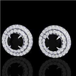 2 CTW Micro Pave VS/SI Diamond Stud Earrings Double Halo 18K White Gold - REF-109F3N - 21465