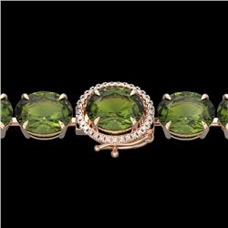 65 CTW Green Tourmaline & Micro VS/SI Diamond Halo Bracelet 14K Rose Gold - REF-593T8M - 22262
