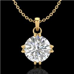 1 CTW VS/SI Diamond Solitaire Art Deco Stud Necklace 18K Yellow Gold - REF-294F2N - 36916