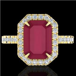 5.33 CTW Ruby And Micro Pave VS/SI Diamond Halo Ring 18K Yellow Gold - REF-94W4F - 21433