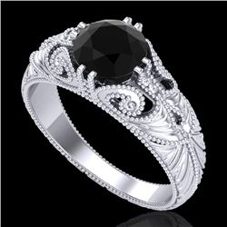 1 CTW Fancy Black Diamond Solitaire Engagement Art Deco Ring 18K White Gold - REF-90A9X - 37527