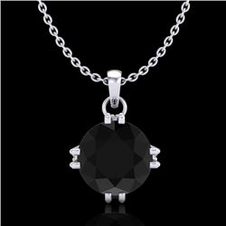 1 CTW Fancy Black Diamond Solitaire Art Deco Stud Necklace 18K White Gold - REF-67T3M - 37541