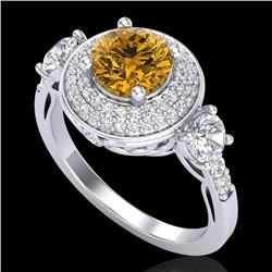 2.05 CTW Intense Fancy Yellow Diamond Art Deco 3 Stone Ring 18K White Gold - REF-300A2X - 38148