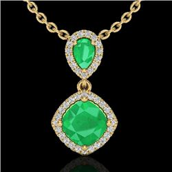 3.50 CTW Emerald & Micro VS/SI Diamond Necklace Designer Halo 10K Yellow Gold - REF-63F6N - 20545
