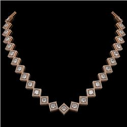 26.88 CTW Princess Cut Diamond Designer Necklace 18K Rose Gold - REF-4912N2Y - 42795