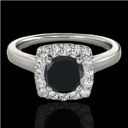 1.37 CTW Certified VS Black Diamond Solitaire Halo Ring 10K White Gold - REF-68F2N - 33412