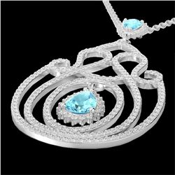 3.20 CTW Sky Blue Topaz & Micro VS/SI Diamond Heart Necklace 14K White Gold - REF-162K4W - 22443