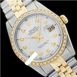 Rolex Men's Two Tone 14K Gold/SS, QuickSet, Diamond Dial & Diamond Bezel - REF-557H6W