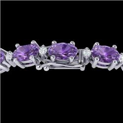 25.8 CTW Amethyst & VS/SI Certified Diamond Eternity Bracelet 10K White Gold - REF-122K9W - 29441