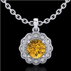 1.15 CTW Intense Fancy Yellow Diamond Art Deco Stud Necklace 18K White Gold - REF-218K2W - 37847