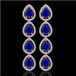 16.01 CTW Sapphire & Diamond Halo Earrings 10K Rose Gold - REF-186W5F - 41289