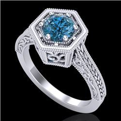 0.77 CTW Fancy Intense Blue Diamond Solitaire Art Deco Ring 18K White Gold - REF-130K9W - 37502