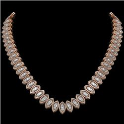 39.68 CTW Marquise Diamond Designer Necklace 18K Rose Gold - REF-7251T5M - 42777