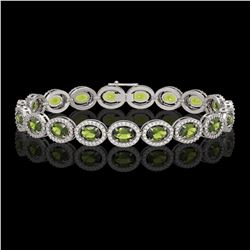 13.87 CTW Tourmaline & Diamond Halo Bracelet 10K White Gold - REF-271W6F - 40472