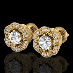 1.51 CTW VS/SI Diamond Solitaire Art Deco Stud Earrings 18K Yellow Gold - REF-263N6Y - 37108