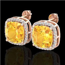 12 CTW Citrine & Micro Pave Halo VS/SI Diamond Earrings Solitaire 14K Rose Gold - REF-75A5X - 23059