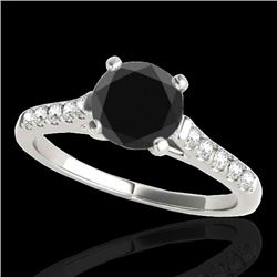 1.45 CTW Certified VS Black Diamond Solitaire Ring 10K White Gold - REF-62T5M - 34982