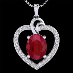4 CTW Ruby & VS/SI Diamond Designer Heart Necklace 14K White Gold - REF-81F8N - 20494