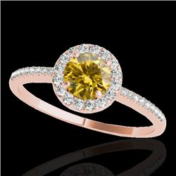 1.2 CTW Certified Si/I Fancy Intense Yellow Diamond Solitaire Halo Ring 10K Rose Gold - REF-150X9T -