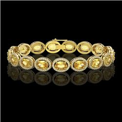 20.36 CTW Fancy Citrine & Diamond Halo Bracelet 10K Yellow Gold - REF-246K8W - 40645