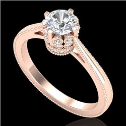 0.81 CTW VS/SI Diamond Solitaire Art Deco Ring 18K Rose Gold - REF-135X8T - 36825