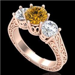 2.01 CTW Intense Fancy Yellow Diamond Art Deco 3 Stone Ring 18K Rose Gold - REF-343N6Y - 37582