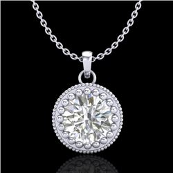1 CTW VS/SI Diamond Solitaire Art Deco Necklace 18K White Gold - REF-292W5F - 36890