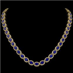 34.11 CTW Sapphire & Diamond Halo Necklace 10K Yellow Gold - REF-537X5T - 40408