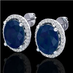 6 CTW Sapphire & Micro Pave VS/SI Diamond Earrings Halo 18K White Gold - REF-89F3N - 21064