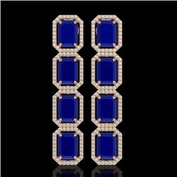 20.59 CTW Sapphire & Diamond Halo Earrings 10K Rose Gold - REF-213M8H - 41577