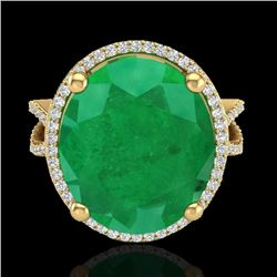 12 CTW Emerald & Micro Pave VS/SI Diamond Halo Ring 18K Yellow Gold - REF-143X6T - 20961