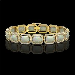 24.37 CTW Opal & Diamond Halo Bracelet 10K Yellow Gold - REF-372F8N - 41539