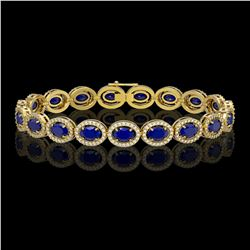 15.2 CTW Sapphire & Diamond Halo Bracelet 10K Yellow Gold - REF-244T2M - 40459